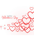 happy valentines day line hearts background vector image vector image