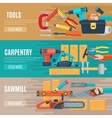 Horizontal Carpentry Banners With Tools Kit vector image