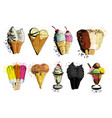 ice creame tasty set hand drawn vector image