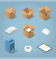 isometric postal delivery objects set vector image