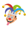 jester face with hat vector image