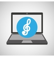 laptop music technology clef note vector image