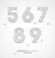 low poly wired numbers font vector image