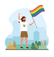 man with rainbow flag to lgbt freedom vector image vector image