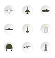 Military defense icons set flat style vector image vector image
