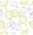 Monochrome seamless pattern of onion and garlic vector image