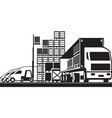 open distribution warehouse vector image