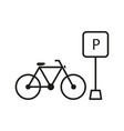 parking outline bicycle bike icon sport health vector image vector image