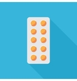 Pills in Blister Flat Icon vector image vector image