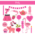 Pink Learn the color Education set of primary vector image