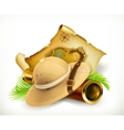 Pith helmet Treasure map Adventure icon vector image vector image