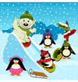polar bear and penguin on an ice slide vector image vector image