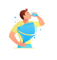 protection of the body man is drinking water vector image vector image