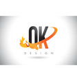 qk q k letter logo with fire flames design and vector image vector image
