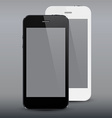 Realistic black and white smartphones vector image