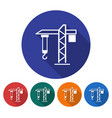 round icon of tower crane flat style with long vector image vector image