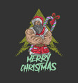 santa claus big muscle vector image