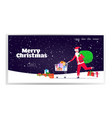 santa claus pushing trolley cart with gift present vector image