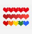 set colorful pieces puzzle romantic five hearts vector image vector image