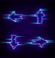 set futuristic cyberpunk glitch arrows modern vector image vector image