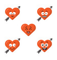 set of flat cute emoji heart faces with arrow vector image