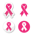 set of pink ribbons symbols for breast canc vector image