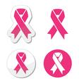 set pink ribbons symbols for breast canc vector image