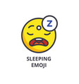 sleeping emoji line icon sign vector image vector image