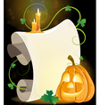 Smiling Jack o Lantern parchment and burning vector image vector image