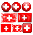 Switzerland flag on different items vector image vector image