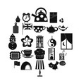tea party icons set simple style vector image vector image
