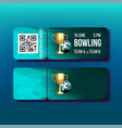 ticket with tear-off coupon on bowling vector image vector image