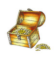 treasure chest piles of coins around color vector image