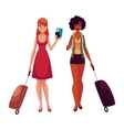 Two girls black and Caucasian travelling together vector image vector image