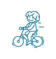 walking on the bike linear icon concept walking vector image vector image