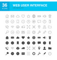 web user interface line glyph icons vector image