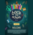 welcome back to school stationery pencils poster vector image