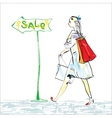 Woman And Shopping vector image vector image
