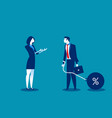 woman talking to businessman chain bound hands vector image