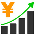 yen growth graph flat icon vector image vector image