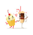 coffee latte and cupcake with cherry on top cute vector image