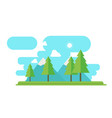 nature landscape with forest and mountain in flat vector image