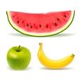 Fresh fruit set on white background vector image