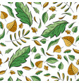 autumn leaves hand drawn pattern vector image vector image