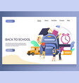 back to school website landing page design vector image