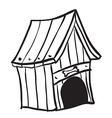 black and white dog house vector image vector image