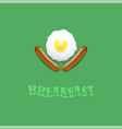breakfast icon with natural egg and two sausages vector image vector image