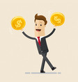 businessman hold golden coins in his hand vector image vector image