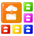 car battery icons set color vector image vector image