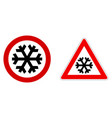 careful snow cold winter sign black snowflake vector image